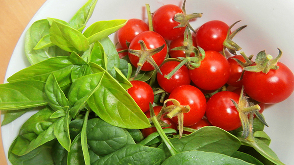 This healthy dish includes basil and tomatoes